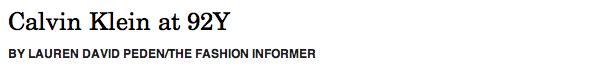 Calvin Klein:92Y header