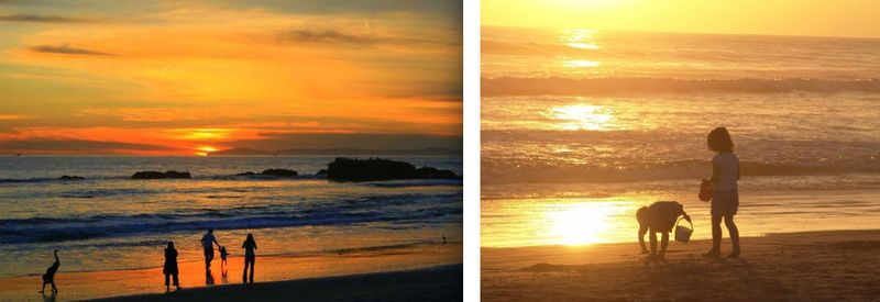 7. Family on beach:sunset