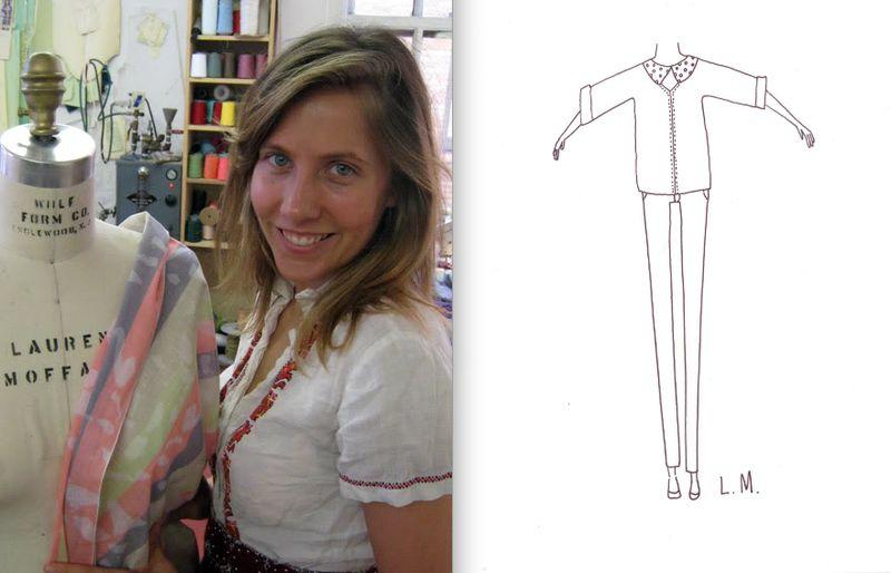 Lauren Moffatt portrait and fall 2012 sketch:The Fashion Informer