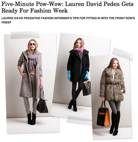 The Fashion Informer on Rue La La-Lauren David Peden NYFW boutique fall 2012