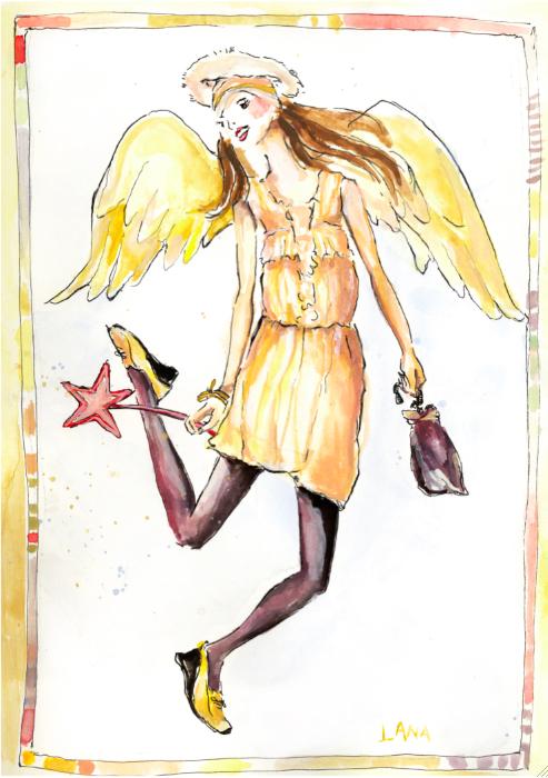 Holiday Angel illustration by Lana Frankel:The Fashion Informer