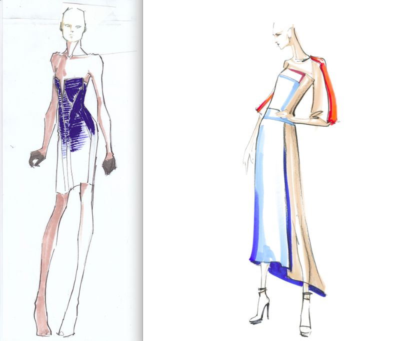 Herve Leger (left) and BCBGMAXAZRIA (right) fall 2012 sketches by Lubov Azria:The Fashion Informer