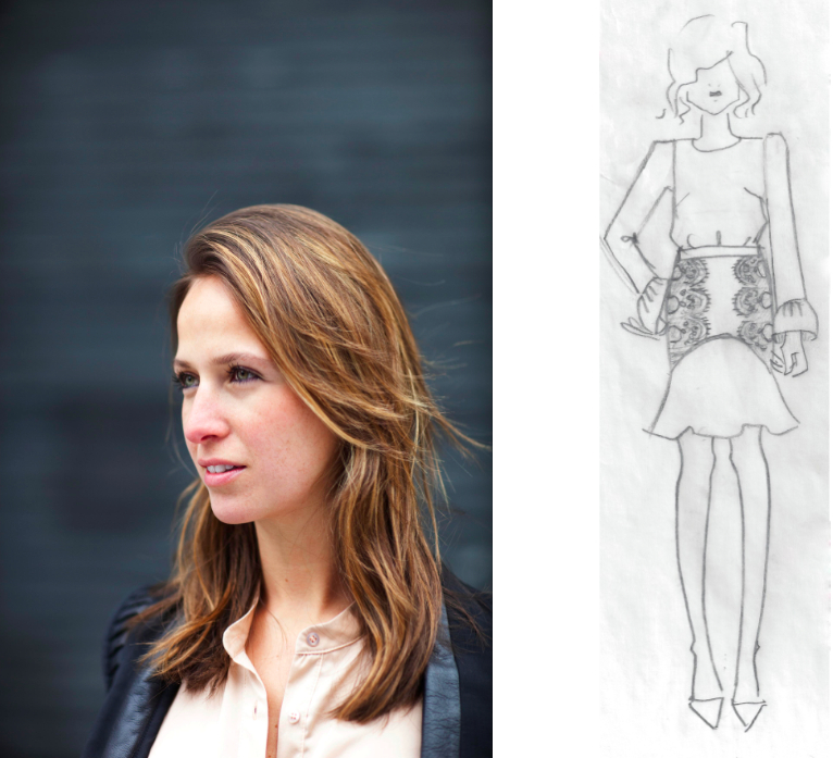 Nonoo fall 2012 sketch and Misha Nonoo portrait:The Fashion Informer