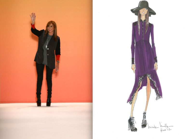 Nicole Miller fall 2012 sketch and portrait:The Fashion Informer