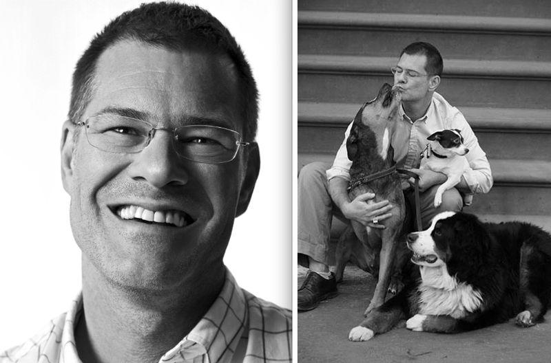John Bartlett and dogs:fall 2012 portrait