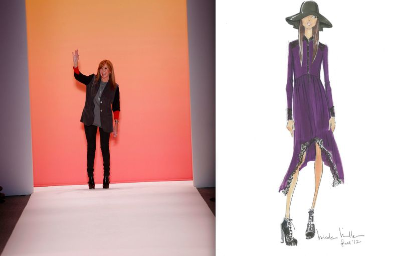 Nicole Miller portrait and Fall 2012 sketch:The Fashion Informer