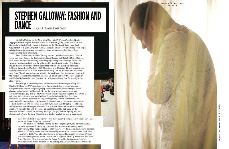 Dossier:Stephen Galloway feature by Lauren David Peden, page 1