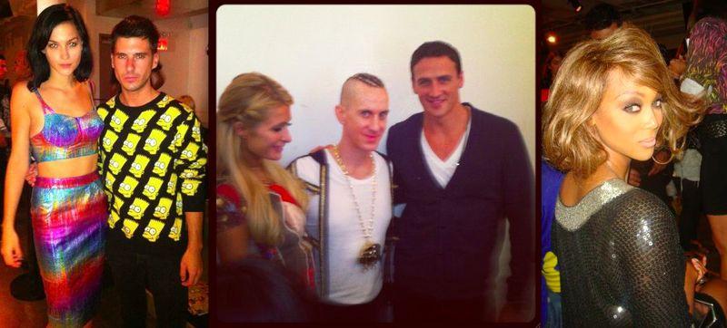 1. Misshapes, Paris Hilton, Jeremy Scott, Ryan Locchte, Tyra Banks at Jeremy Scott spring 2013 by Lauren David Peden:The Fashion Informer