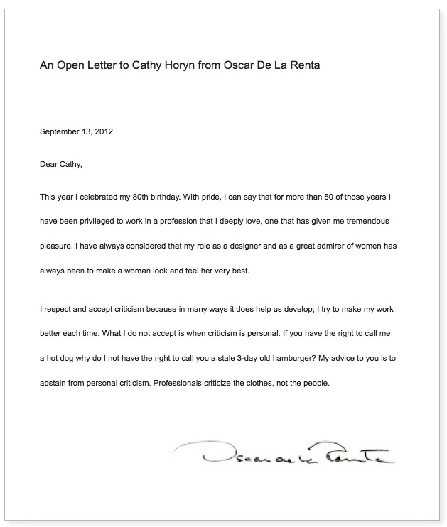 Oscar de la Renta's open letter to Cathy Horyn in WWD 9:14:12 on The Fashion Informer
