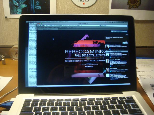 9 Rebecca Minkoff fall 2013 live stream on laptop by The Fashion Informer:Lauren David Peden