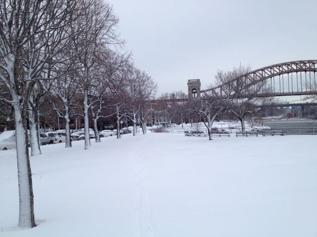 1. Astoria Park in the Snow on The Fashion Informer