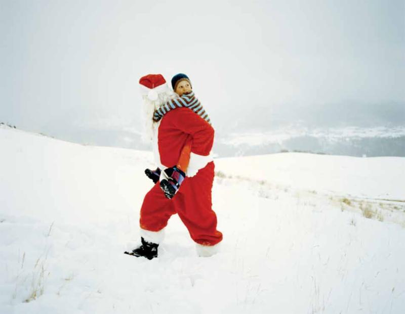 Santa piggyback ride