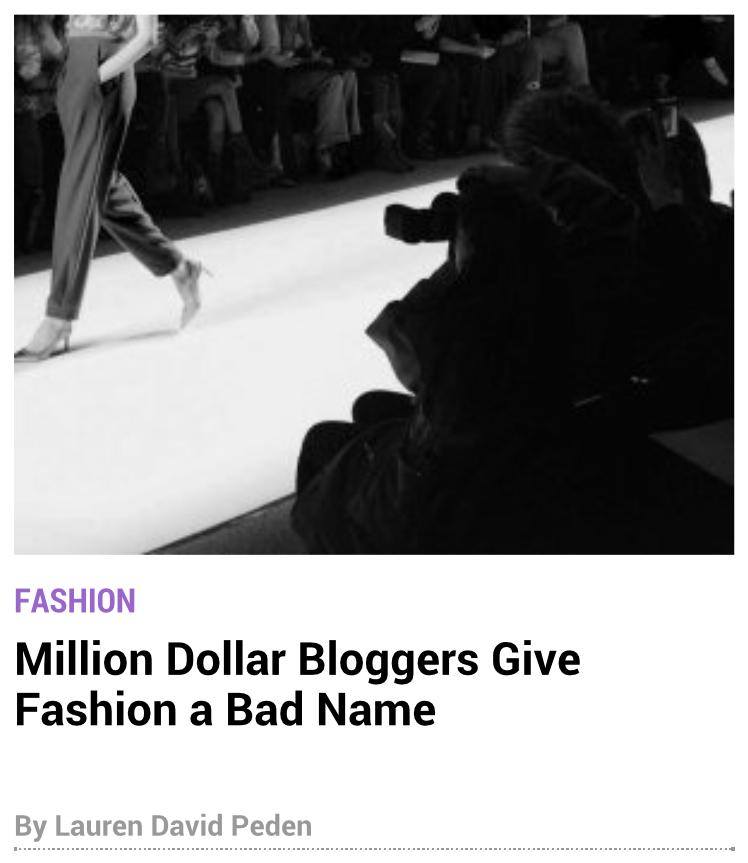 Million Dollar Bloggers in New York Observer by Lauren David Peden